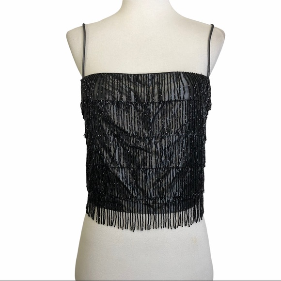 Rampage Bead Fringe Camisole Black Iridescent Top
